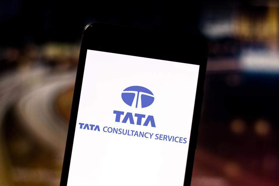 In this photo illustration the Tata Consultancy Services...
