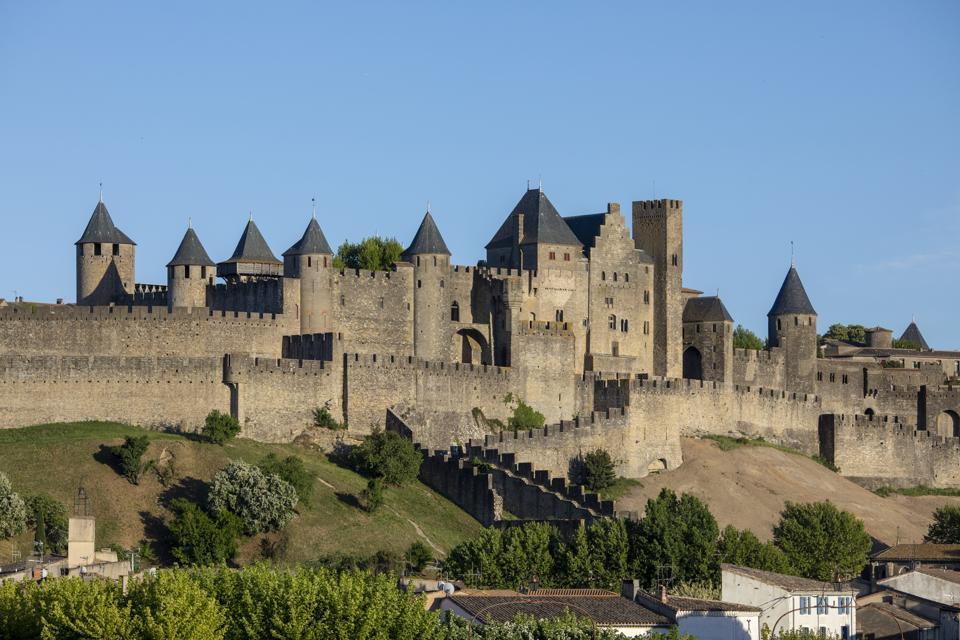 Carcassonne, középkori fellegvár, Franciaország.