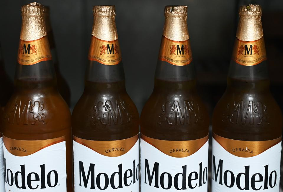 Picture of bottles of Mexican beer Modelo.