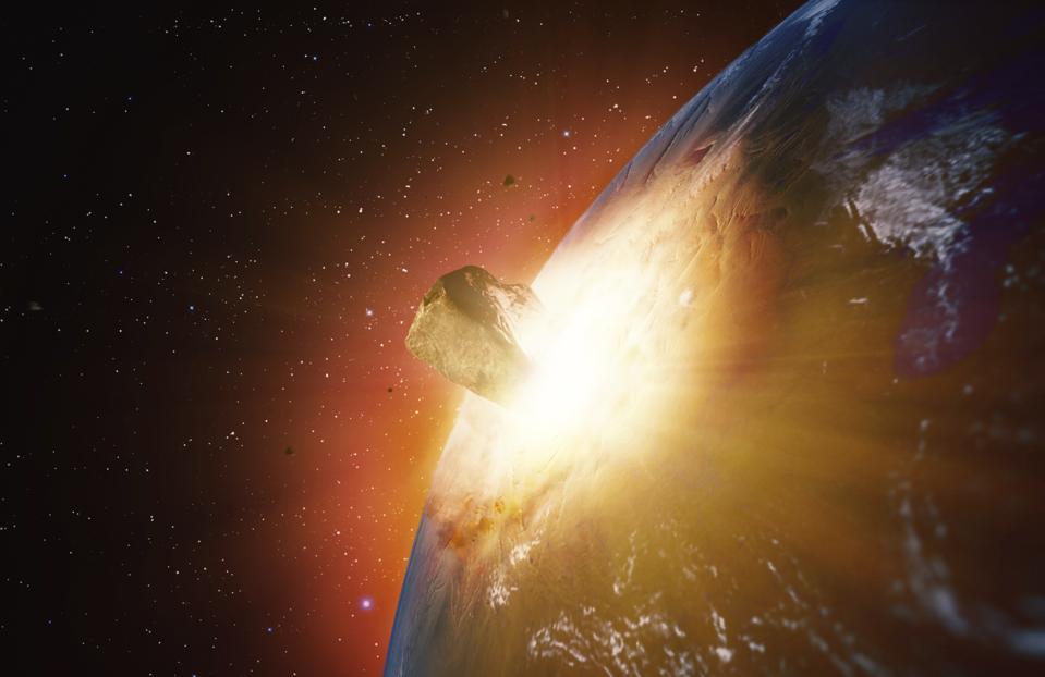 Huge asteroid impacting Earth, illustration