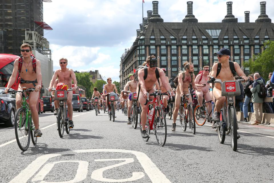 (EDITOR'S NOTE: IMAGE CONTAINS NUDITY) Naked people ride...