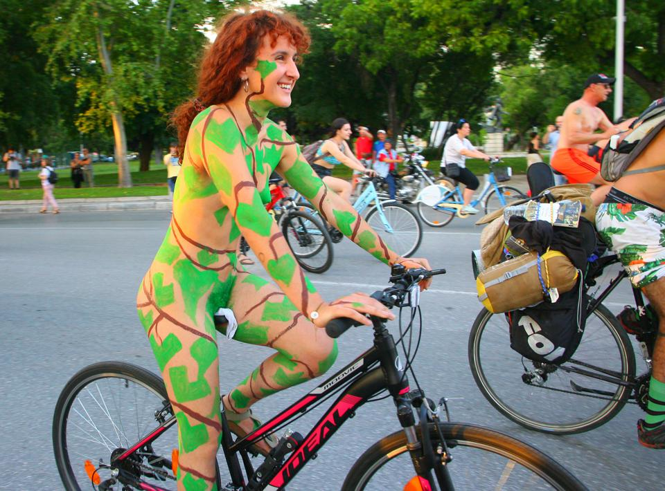 Cyclists Take Part In The Naked Bike Ride In Thessaloniki