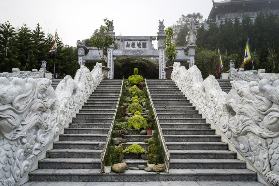 climb to the Buddhist pagoda on the top of the hill. Stone Steps in Bana Hill Danang, Vietnam