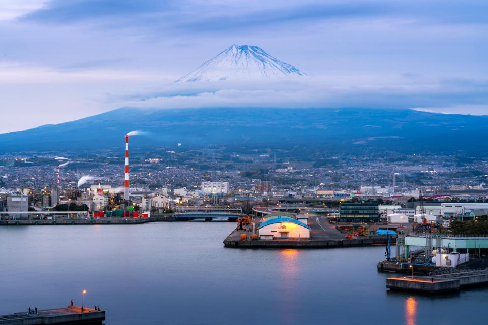 Mountain Fuji and industry zone from Shizuoka prefecture, Japan