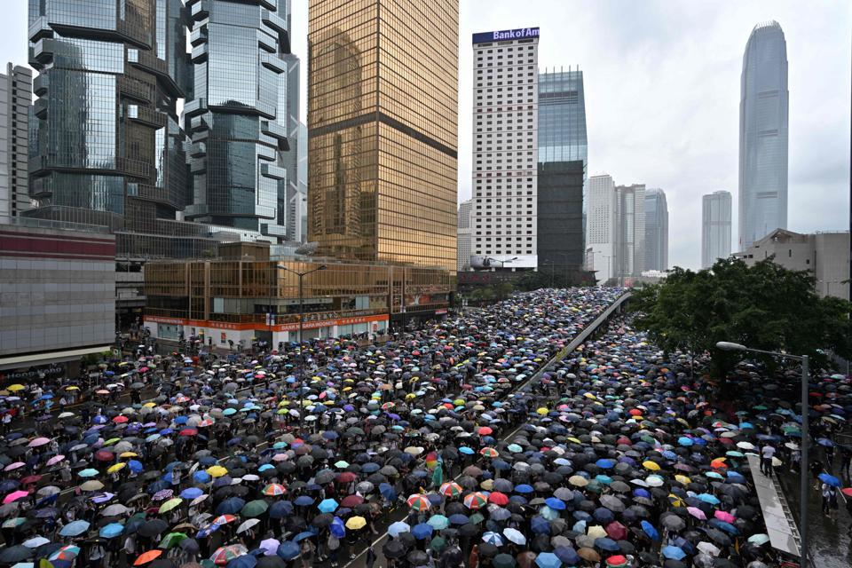 Tens of thousands of protesters took to the streets around Hong Kong's Legislative Council.
