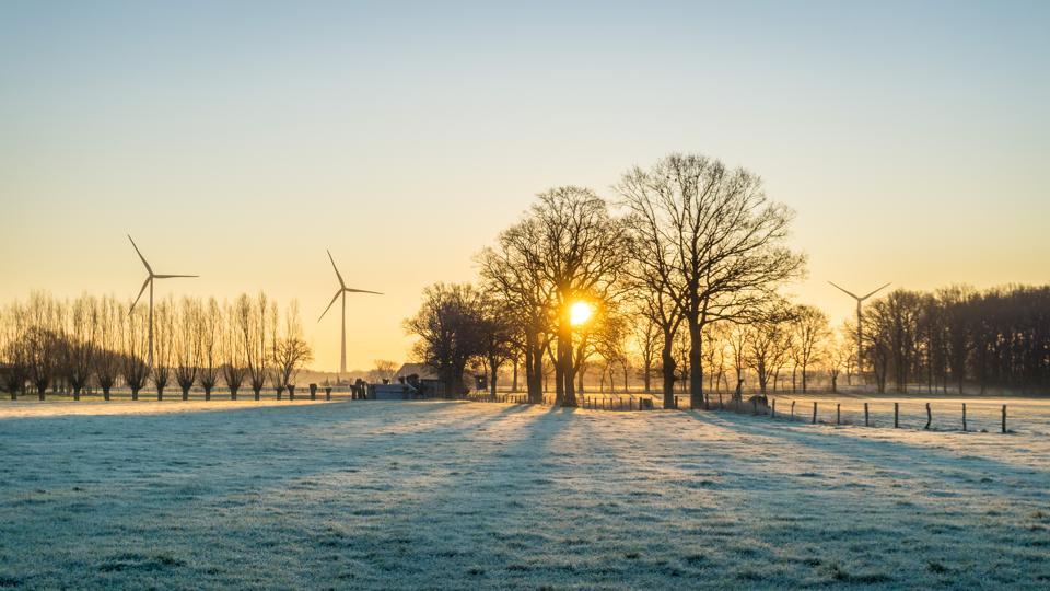 wind farm winter sunrise