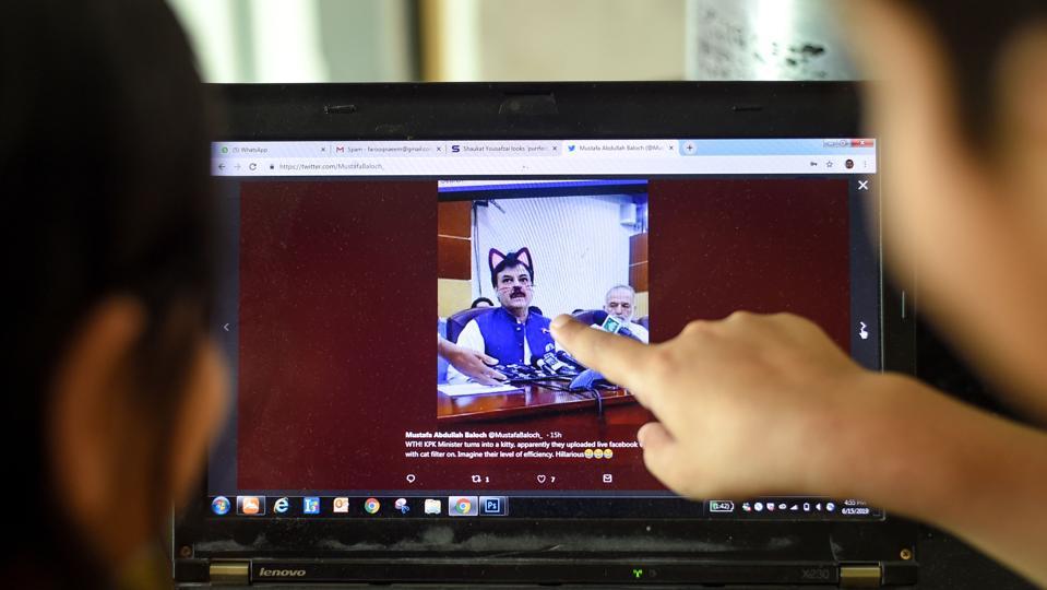 A screenshot of regional minister Shaukat Yousafzai's cat-filtered face.
