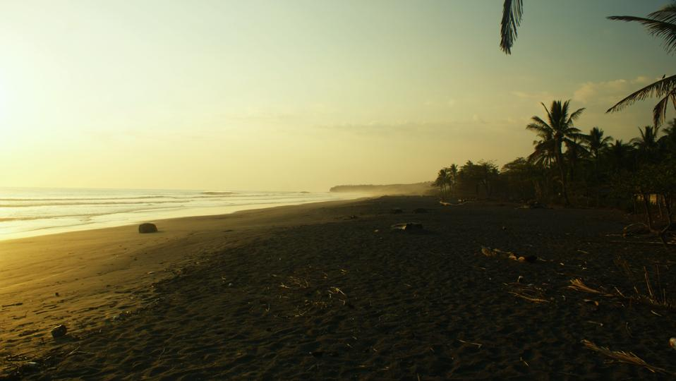 Playa del Ostional (ostional beach) with black volcanic sand in Guanacaste, Costa Rica
