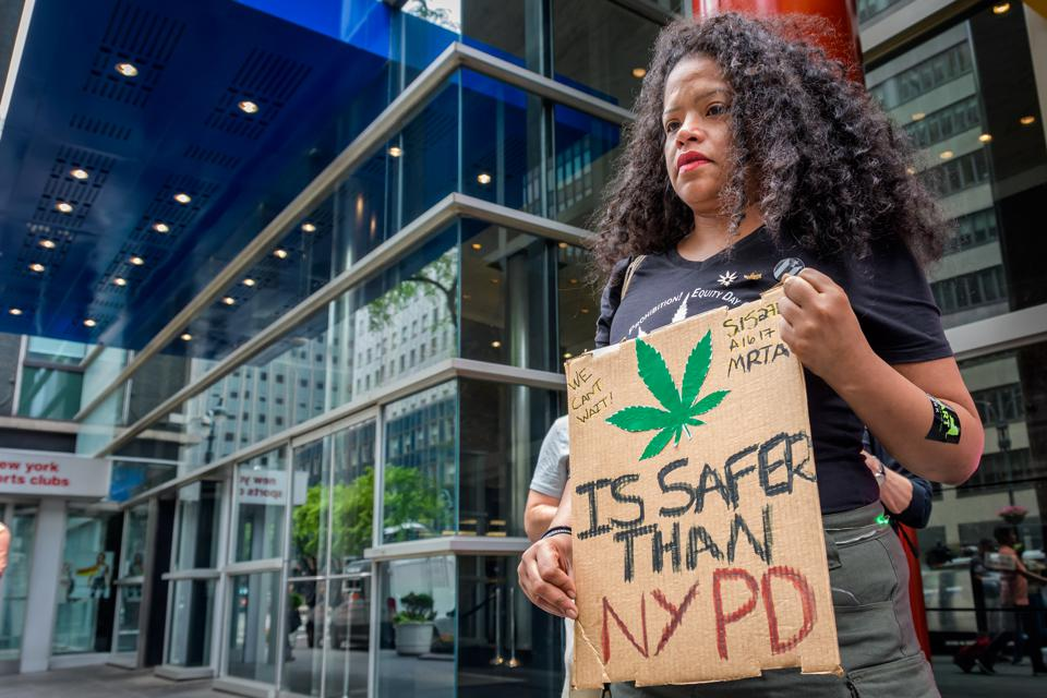 Supporters of cannabis legalization in New York gather to rally their support.