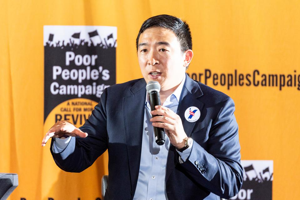 American entrepreneur Andrew Yang speaking at the Poor...