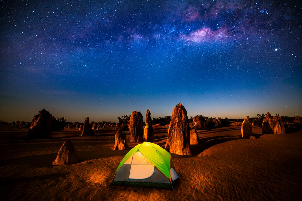 Starry sky at the Pinnacles, Milkyway rise above a standing stone