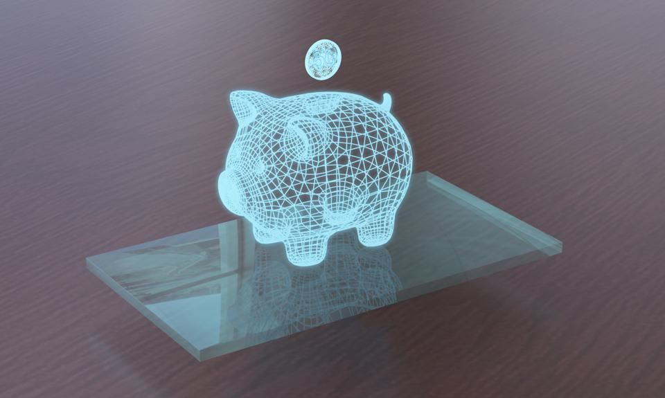 piggy bank with coin as hologram