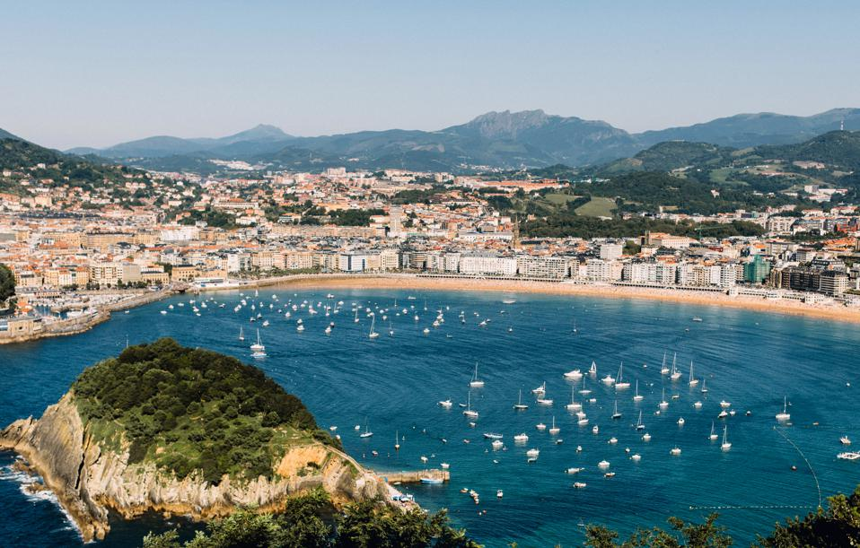 View of La Concha Beach on the Bay of Biscay in San Sebastian, Spain