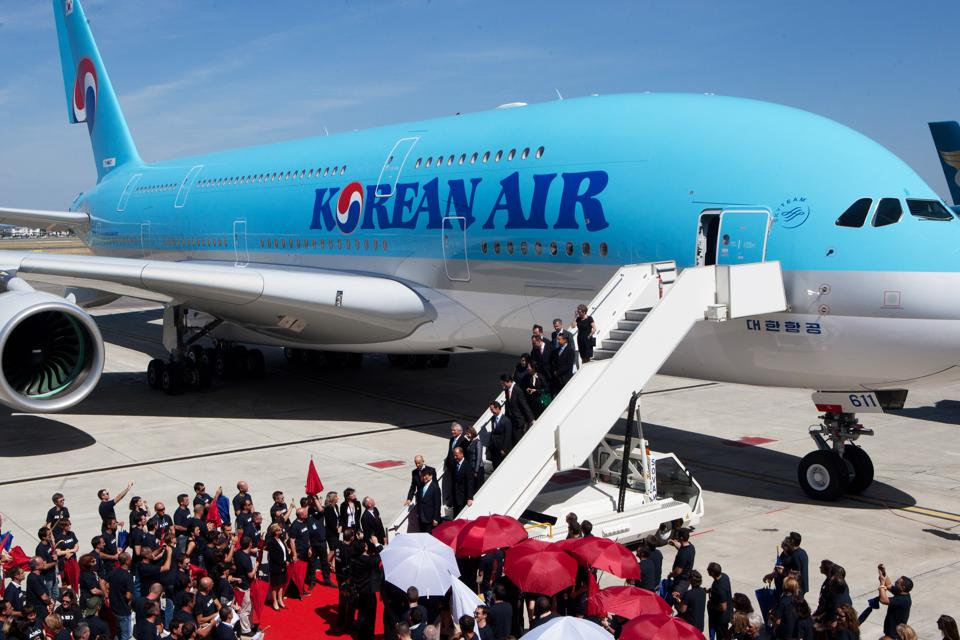 Delivery Ceremony By Airbus For Korean Air In Toulouse
