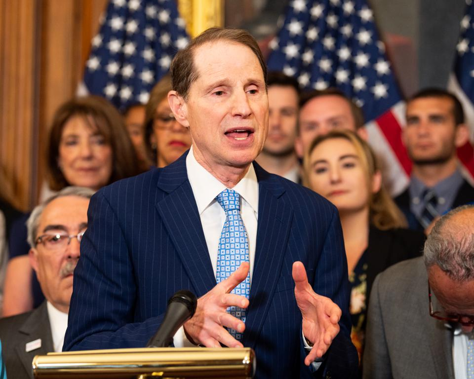 U.S. Senator Ron Wyden (D-OR) speaks during an event in...