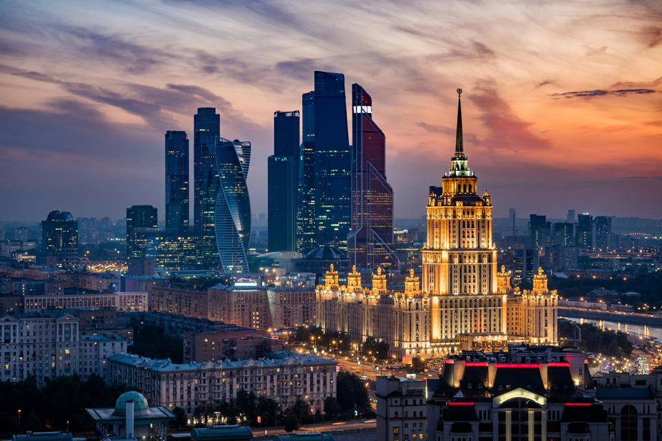 Moscow City Skyline and International Business Center at Sunset, Moscow, Russia