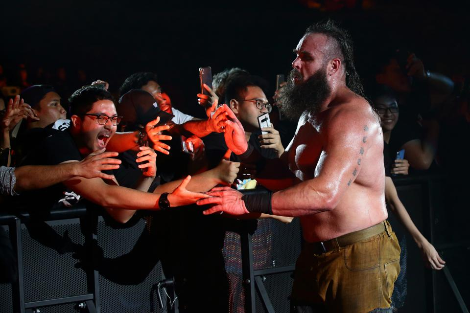 WWE star Braun Strowman leaves after his match