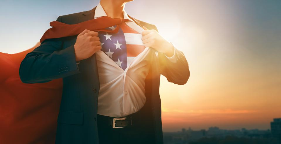 superhero businessman with American flag on chest