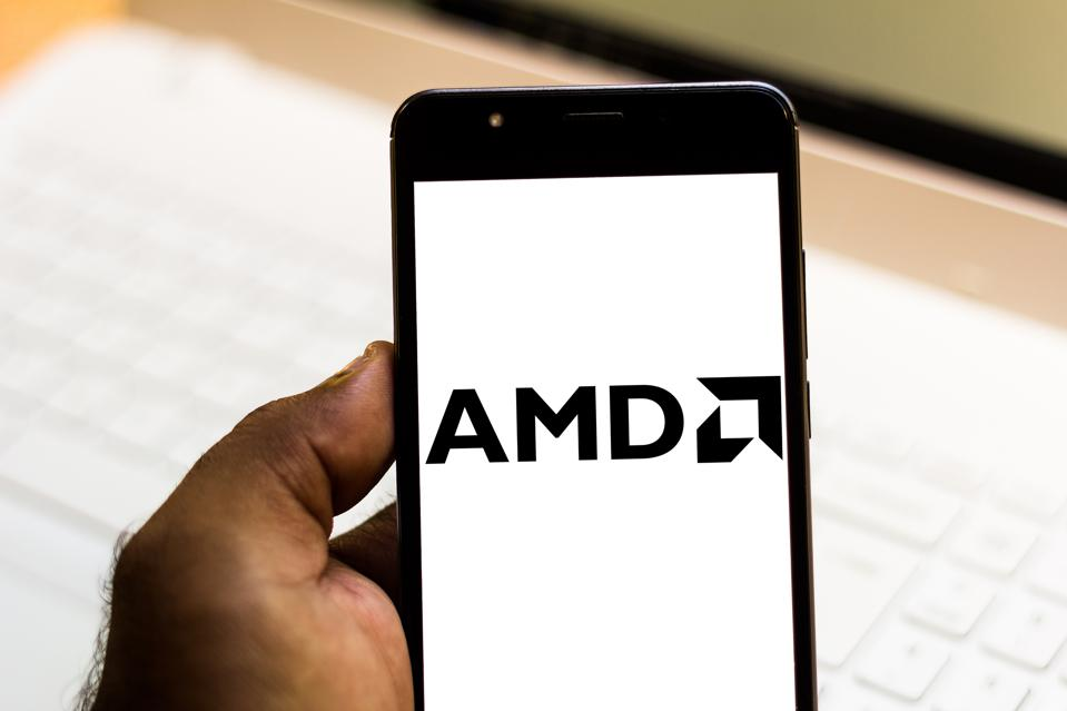 In this photo illustration the Advanced Micro Devices (AMD)...
