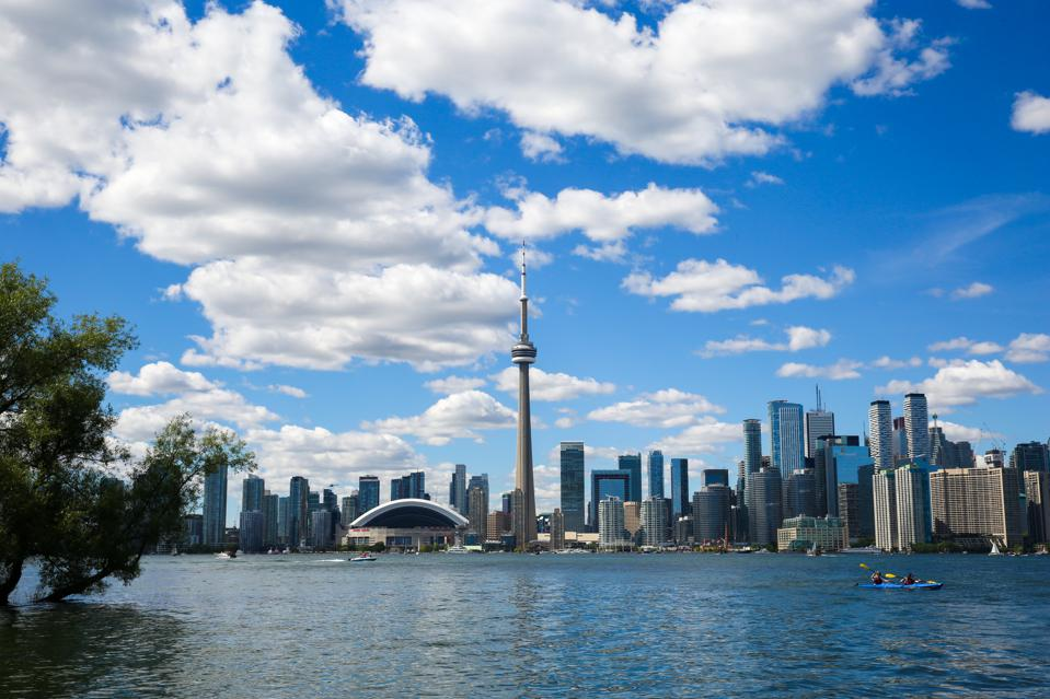 Toronto skyline during a hot and sunny day...