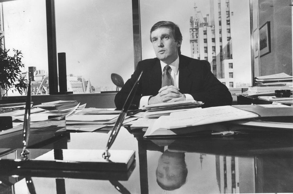 Donald Trump in his office in 1985