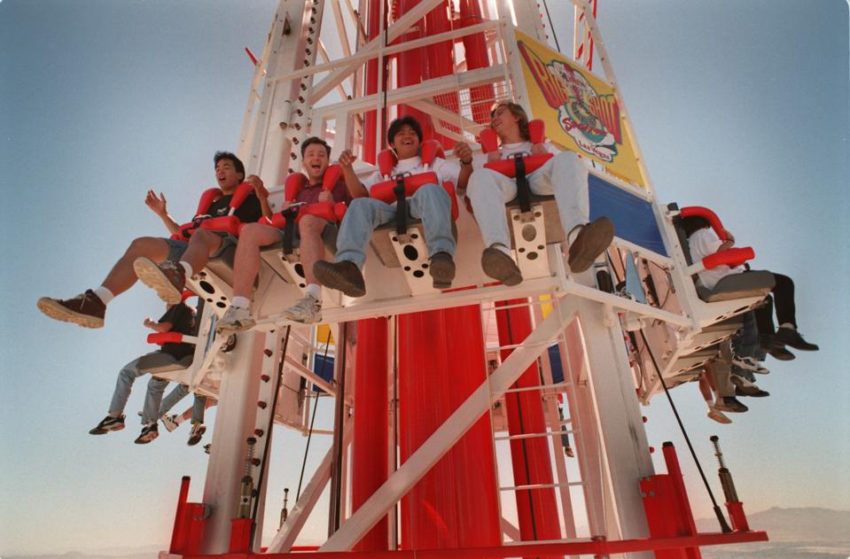 Stratosphere Casino opening -- riders take the Big Shot straight-up from the top of the Stratosphere