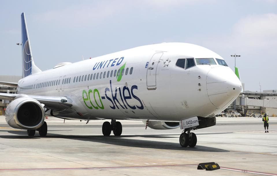United Airlines' Ecologically Friendly ″Flight For The Planet″ Arrives At LAX