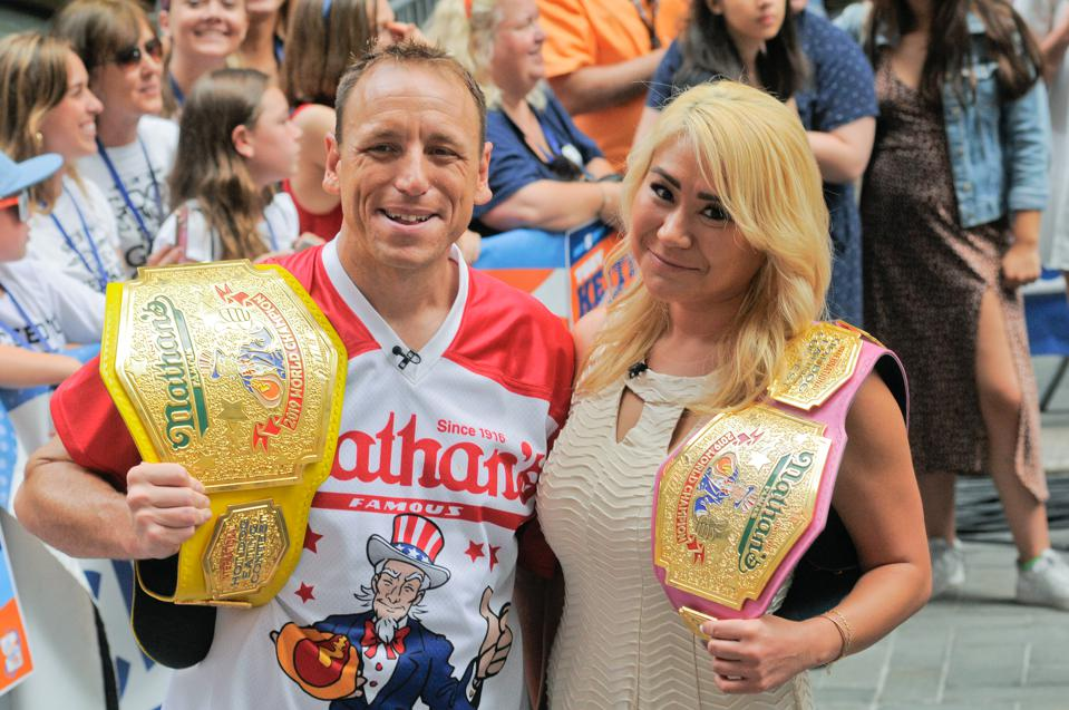 Competitive Eaters Joey Chestnut and Miki Sudo seen during...