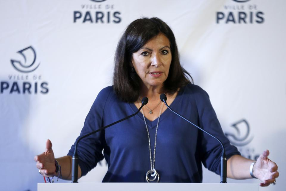 Paris Mayor Anne Hidalgo Gives A Press Conference On Scooters And Bikes For Rent Self-Service