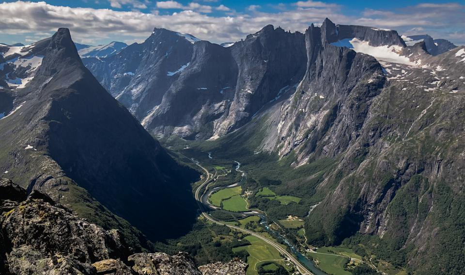 The dramatic mountains of Norway's Rauma valley.