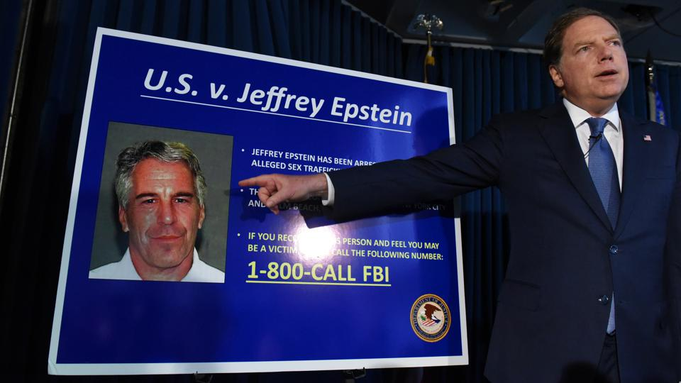 U.S. attorney Geoffrey Berman announces sex trafficking and conspiracy charges against Jeffery Epstein on July 8, 2019.