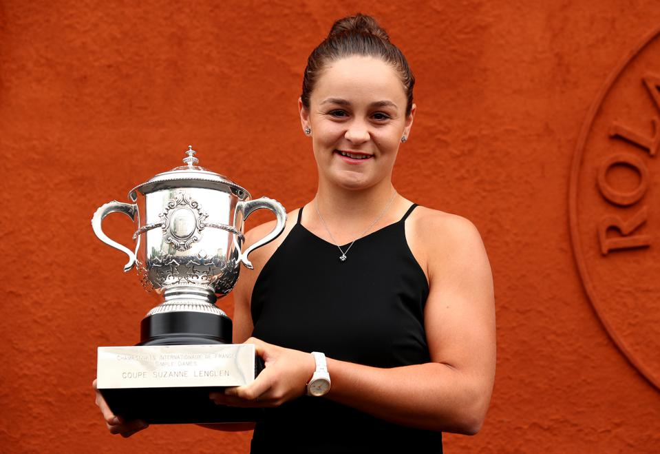 Barty poses with the winner's trophy after winning the 2019 French Open