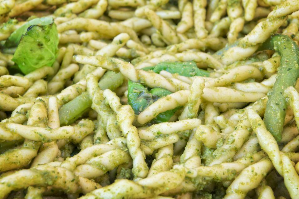 Italian trofie pasta background