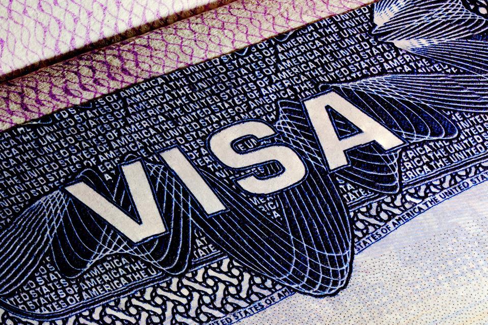 United States of America Visa Page, Close up of a text Visa, Visa Stamp.