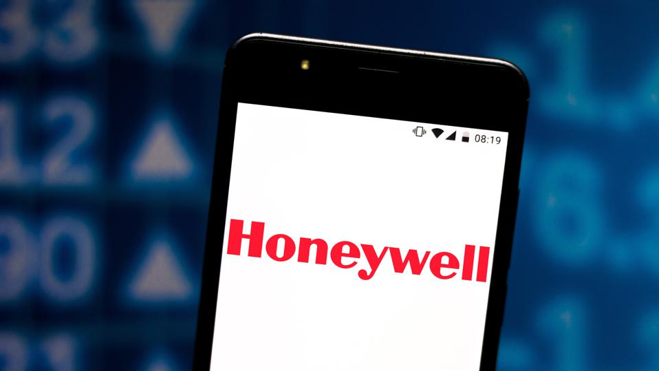 In this photo illustration a Honeywell logo seen displayed...