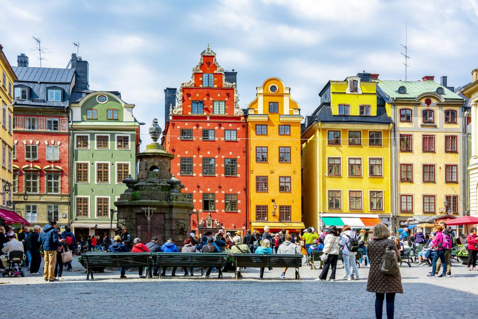 Colourful houses on Stortorget square in Old town, Stockholm, Sweden.