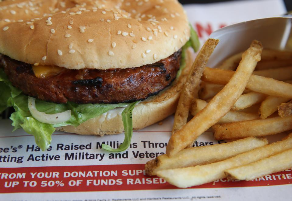 A Carl's Jr. Famous Star Beyond Meat burger.