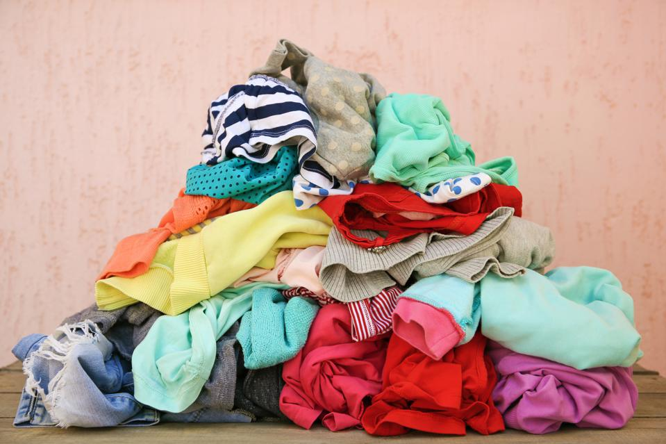 Pile of carelessly scattered clothes.