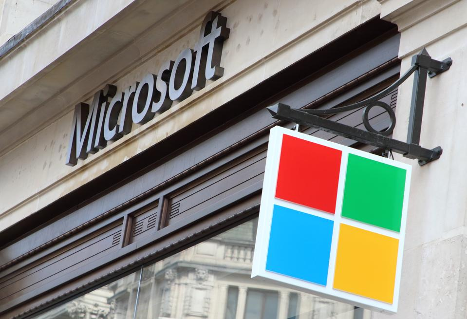 Microsoft logo at the New Microsoft flagship retail store,...