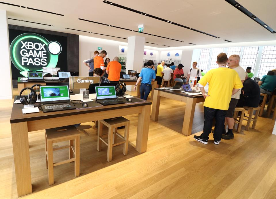 Customers and staff inside the New Microsoft flagship retail...
