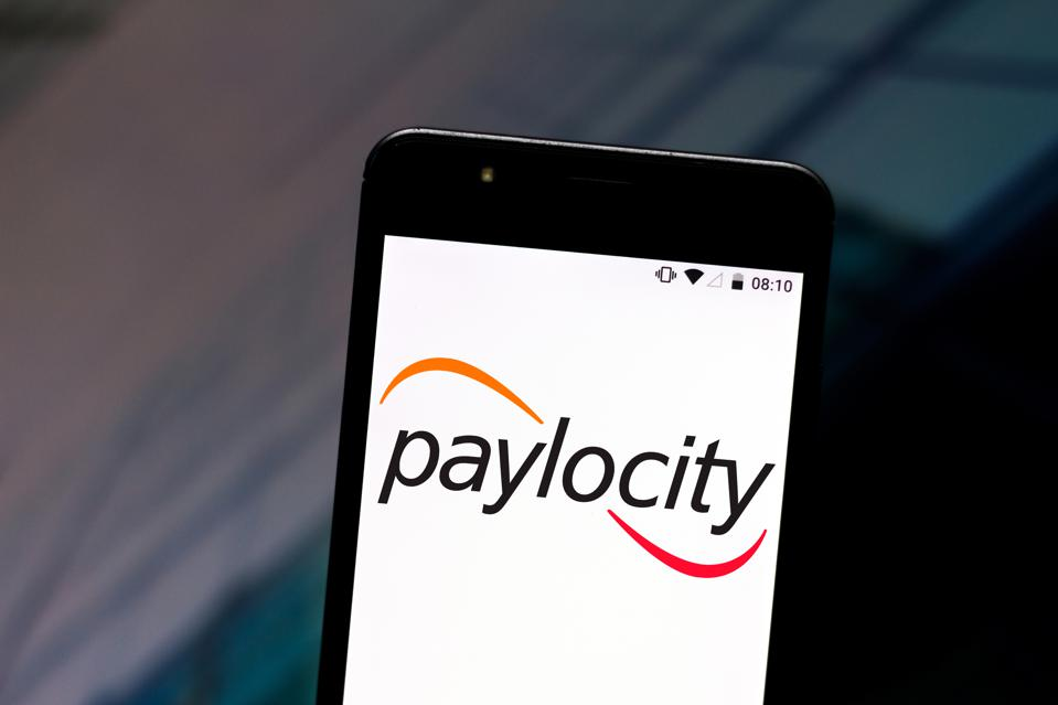 In this photo illustration a Paylocity logo seen displayed...