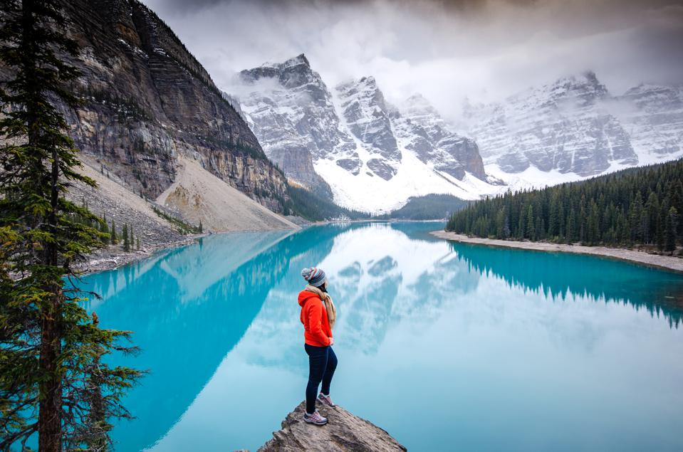 Hiking to the top , moraine lake , banff national park in canadian rockies, alberta , canada