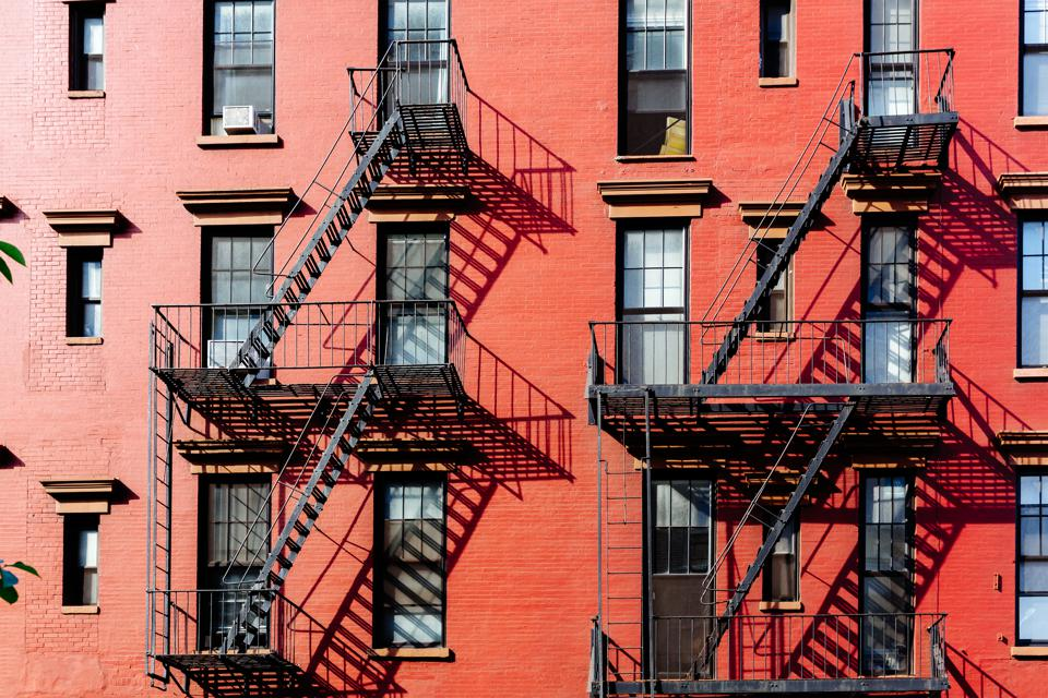 Fire escape stairs on buildings in West Village district, New York City