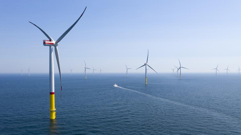The Arkona offshore wind park off the coast of Sassnitz, Germany.