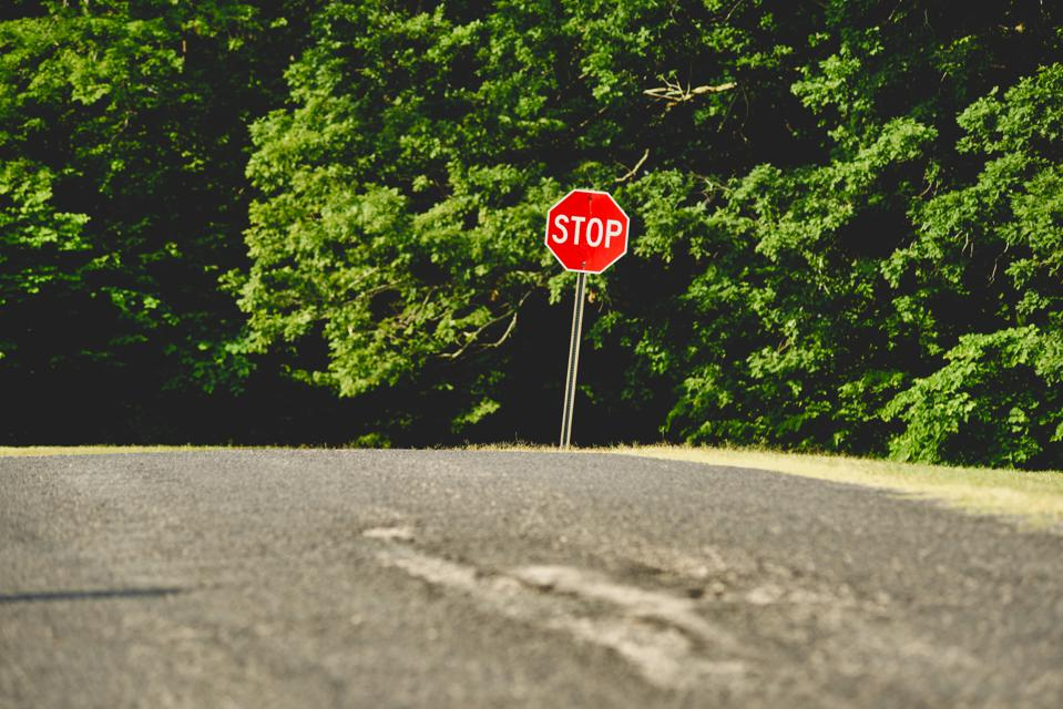 Stop sign in rural area