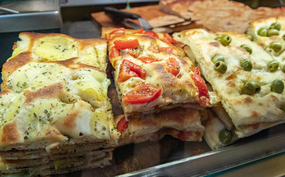 Grilled Vegetable Focaccia in genoa, Italy.