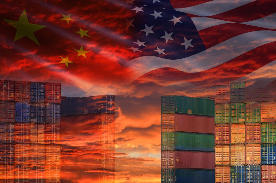 USA and China trade war economy conflict tax business finance money / United States raised taxes of goods from China on Container ship in export and import