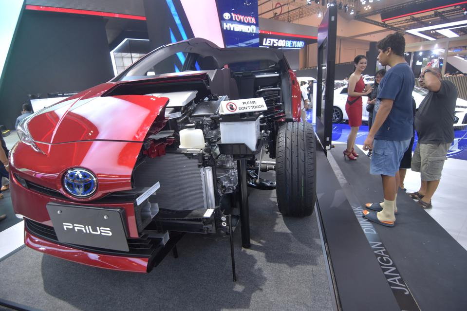 A Toyota Prius displayed at a motor show in Tangerang, Indonesia.