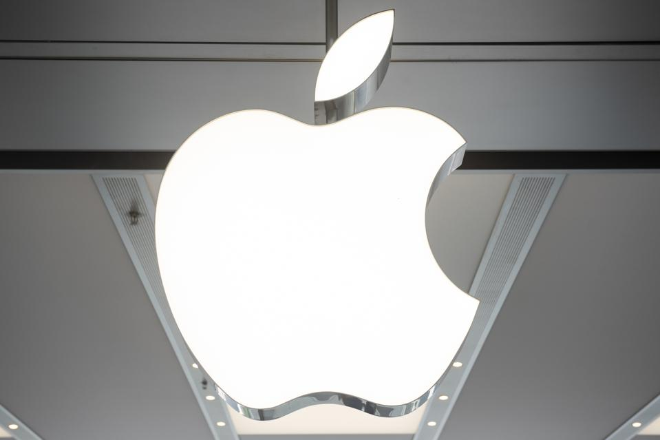 An American multinational technology company Apple logo seen...