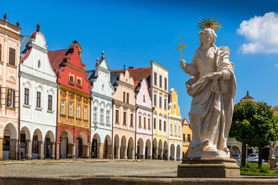 Main square of Telc city, a UNESCO World Heritage Site, in South Moravia, Czechia